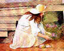 A girl planting flowers